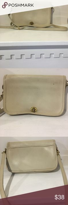 Vintage coach bag! Off white vintage coach  cross body bag or straps can be take off and used as a clutch! Very soft leather small mark on front of bag! In great condition! Coach Bags Crossbody Bags