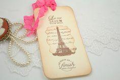 Eiffel Tower Paris Market Bookmark Wedding Shower Favor - You Choose Ribbon Color