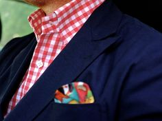 F/W - Blue Blazer, Pink Checkered Dress Shirt and and nice pocket square touch...