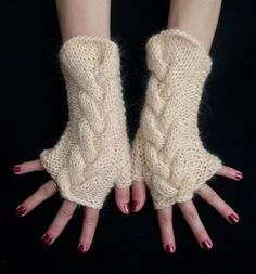 Fingerless Gloves Cream Wrist Warmers Cabled and Warm by LaimaShop, $34.00