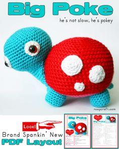 New and Revised Pattern + New PDF  Big Poke Turtle Amigurumi Pattern by Roxycraft $5.00