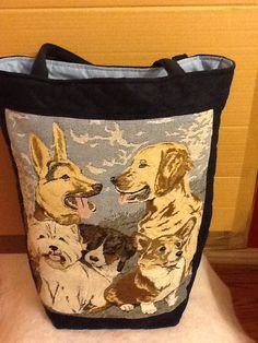 Large quilted Tapesty Dog Breed design tote by woosbagsandcrafts, £26.00