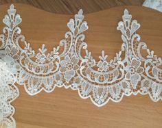 White Lace Trim Cotton Lace Trim Bridal Lace Wedding by lacetime