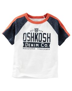 Featuring sporty raglan sleeves and an original OshKosh logo, this super soft jersey tee takes him from the playground to the practice field.