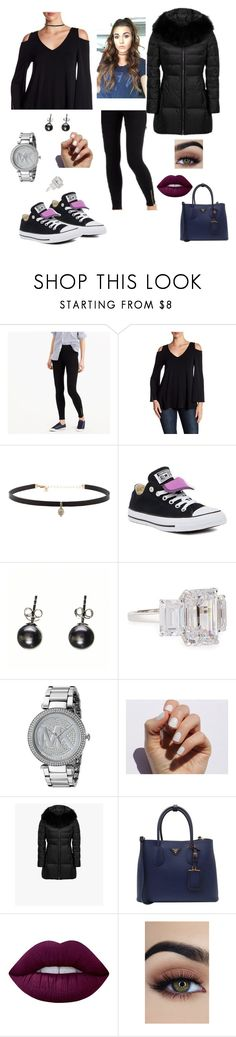 """Scatter cushions"" by bexs205 ❤ liked on Polyvore featuring J.Crew, Karen Kane, Carbon & Hyde, Converse, Black, Fantasia by DeSerio, Michael Kors, SoGloss, Prada and Lime Crime"