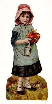 PRETTY CHILD in Apron Victorian Die Cut Scrap 1890's (03/29/2011)