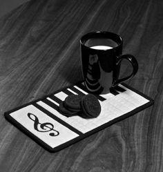 Black and White Treble Clef Mug Rug by sewingneedles on Etsy