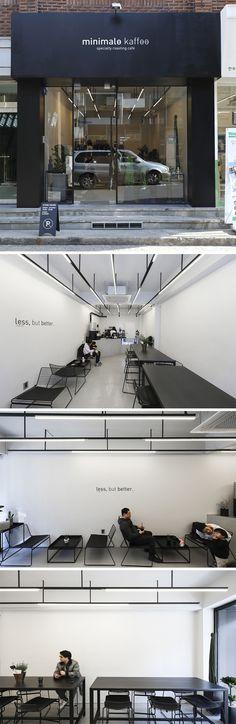 [No.172 미니말레] 10평 블래앤화이트 미니멀 카페 인테리어, 심플 디자인, black and white cafe interior Cafe Shop Design, Coffee Shop Interior Design, Cafe Interior, Modern Interior Design, Interior Architecture, Restaurant Concept, Restaurant Design, Cafe Concept, Shop Doors