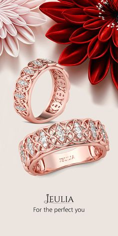Jeulia Rose Gold Filigree Round Cut White Sapphire Women's Wedding Band #jeulia