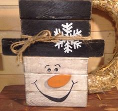 SNOWMAN CHRISTMAS Rustic Primitive Handmade Plaque Hearth PALLET Home DECOR WALL  | eBay