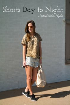 Embellished Shorts: Daytime Look | @oneteaspoon_ cut offs | nike free run | @alexanderwangny emile satchel | tan | aviators | summer | @currenteliott leopard tee | casual | blogger | fashion | outfit | personal style