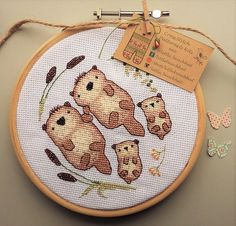 Otter Love Cross Stitch Kit contains everything by LittleBeachHut