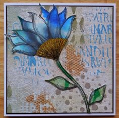 Mixed media card - stencilled canvas background