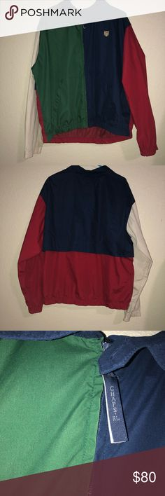Vintage Ralph Lauren Chaps color block Windbreaker This Windbreaker is in good condition the color way is red/blue/green/tan the only flaws would be both of the cuffs are dirty and there's a small brown mark by the right cuff, small spot on the green front that's barely visible and there's a yellow mark around the neck area that's barely visible only visible when picture with flash is taken Pre-owned  All sales final Ralph Lauren Jackets & Coats Windbreakers