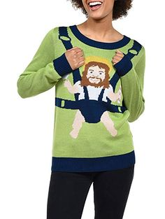 24b87fbaad134 Tipsy Elves Women's Sweet Baby Jesus Christmas Sweater - Funny Christmas  Sweater: X-Large