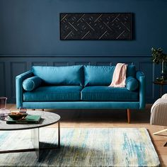 34 Inspiring Living Room Color Schemes to Make Your Room Cozy Good Living Room Colors, Living Room Color Schemes, Living Room Designs, Home Living Room, Living Room Decor, Turquoise Couch, Comfy Cozy Home, Paint Your House, Custom Made Furniture