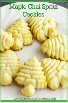 Maple Chai Spritz Cookies is a rich butter cookie that is flavored with Maple Butter from Minerva Dairy and Chai Syrup from Simple Gourmet Syrups. The combination of these two makes for a wonderful pressed cookie. A recipe from Seduction in the Kitchen.