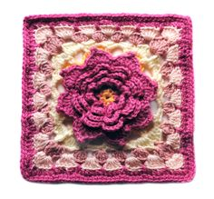 "Katharine's Rose 12"" Square Motif By Melinda Miller - Free Crochet Pattern - (ravelry)"