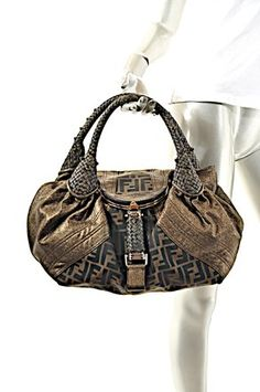 a6e50905ea51 FENDI Excellent Pre-Owned Condition Fabulous FENDI Brown and Gold Metallic  Leather and Canvas Logo