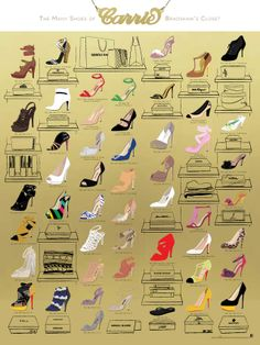 #NYC design firm, Pop Chart Lab, puts 50 of Sarah Jessica Parker's 'Sex and the City' shoes on one beautiful poster. Take a look.