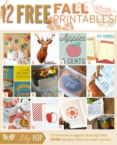 It's a BLOG HOP!  Follow the links to snag all 12 FREE Printables for Fall! www.TheDatingDivas.com #freeprintables #fall #bloghop