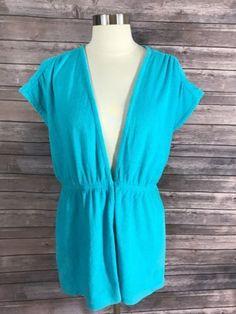 22.76$  Buy now - http://vipue.justgood.pw/vig/item.php?t=omnp89p52118 - Jantzen Womens Swim Cover Up Beach Wear Aqua Blue Size Medium Terry Cloth 22.76$