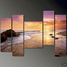 Art Hand Painted Modern Abstract Oil Painting on Canvas Wall Art Deco Home Decoration Hawaii Beach Seashore Sunrise 5 Pic/set Stretched Ready to Hang Perfect for Taylor's bedroom! Large Canvas Art, Canvas Wall Art, Multiple Canvas Paintings, Large Art, Sunset Beach Hawaii, Ocean Sunset, Sunset Art, Gold Beach, Oil Painting Abstract