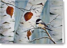 Chickadee In The Birch Greeting Card by Dee Carpenter