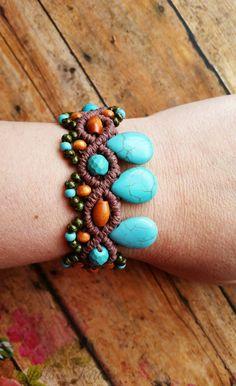 Turquoise Bracelet Macrame Brown Hemp Bracelet Wood by WattsKnots