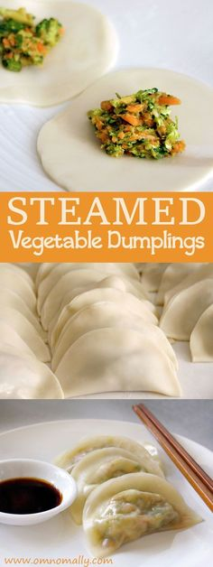 Steamed Vegetable Dumplings with carrot, broccoli and garlic @OmNomAlly - #apple #iphone
