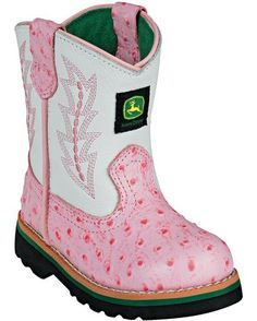 Infant Classic Pull-On Boot - Pink Ostrich.  Every little girl needs a pair of pink cowgirl boots :)