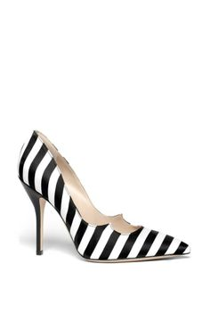 Unique Black and White Stripe Silk Pointy Toe Pump