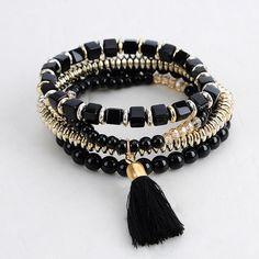 1,55€ - Fashion Personalized Bohemian Ethnic Style Multilayer Beaded Tassel Elastic Charm Bracelets cuir Jewelry for Women Men - SEC International's store