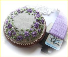 Roses and Pearls purple pincushion