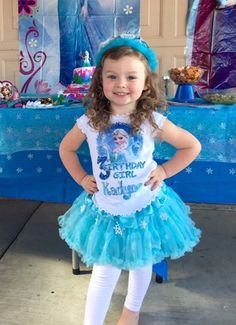 Frozen Elsa Birthday Party Girl Custom Personalized Pettiskirt Birthday custom outfit Name Age Tutu Outfit Skirt Blue | zizzlezazzle - Children's on ArtFire