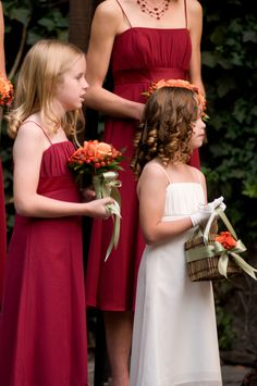 Bridesmaid flowers and Flower Girl Basket - color palette of rich reds, oranges, and greens - by Heather Murdock of The Blue Orchid