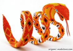 Modular Origami Snake #2 by ~origamimodulowe on deviantART