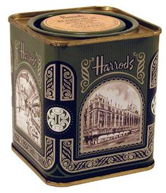 Harrods tea tin in trademark green, square with historic images of the London department store on the sides, UK Vintage Packaging, Tea Packaging, Vintage Tins, Vintage Kitchen, Decoupage, Earl Grey Tea, Tea Tins, Tea Box, Tea Caddy