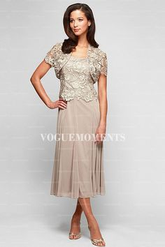 Sheath Column Square Tea Length Lace Mother Of The Bride Dress Groom