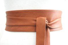 Tan Leather Obi Belt  Waist or Hip Belt  Leather tie by LoveYaaYaa