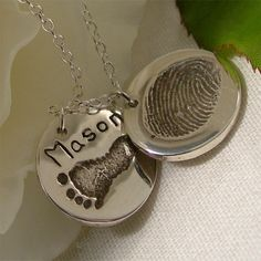 Baby Footprint & Baby Fingerprint Necklace, 2 Round Charm Cluster Necklace, Personalised Silver Baby Keepsake, Child Prints Mommy Necklace on Etsy, $157.00