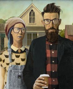 Photoshop Design by JeremyC American Gothic Painting, American Gothic House, Grant Wood American Gothic, American Gothic Parody, Iowa, Mona Lisa Parody, Famous Artwork, Art Institute Of Chicago, Photoshop Design