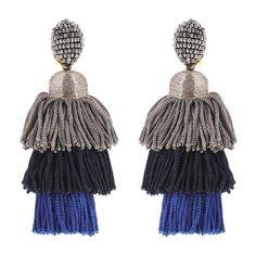 Multicoloured tassel clip-on earrings by Oscar de la Renta.