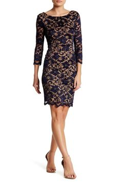 ABS Collection Long Sleeve Lace Sheath Dress