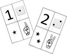 Tarjetas imprimibles para asociar los números a las diferentes cantidades con dedos, dados y estrellas que representan las cantidades.