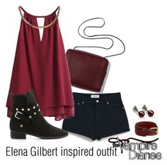 """Elena Gilbert inspired outfit/TVD"" by tvdsarahmichele ❤ liked on Polyvore featuring mode, MANGO, See by Chloé et Frye"