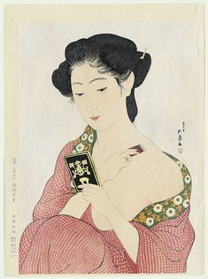 "Portraits de Bijin/で びじん  Portraits in Beauty (Beautiful Women FRENCH ""Belles Femmes"")  POWDERING BEAUTY (1918) Goyo Hashiguchi Beauté se poudrant (1918)  -Goyo Hashiguchi born Hashiguchi Kiyoshi December 21, 1880 – (died February 24, 1921) was an artist in Japan.The name Goyo was chosen because of his fondness for the five needle pine in his father's garden."