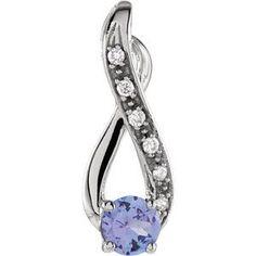 14kt White Tanzanite & .04 CTW Diamond Pendant Tanzanite Pendant, Tanzanite Necklace, Diamond Pendant, Tanzanite Stone, Diamond Clean, Diamond Cuts, Infinity Pendant, Natural Diamonds, Gemstone Jewelry