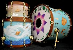 Custom wood burn by Andrew Cook, custom airbrush and paint by Scott Ciprari for Matt Welsh of #BrightAndEarly #sjcdrums