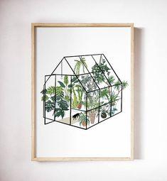 Greenhouse art print/Plant art print/plant poster/Greenery art